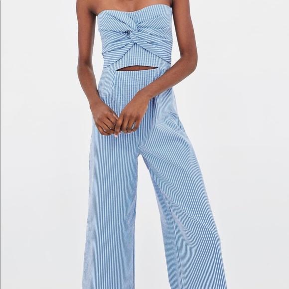 d62e1d9cbda Zara Seersucker Culottes Jumpsuit. M 5bd201afa5d7c63db7ce18e3